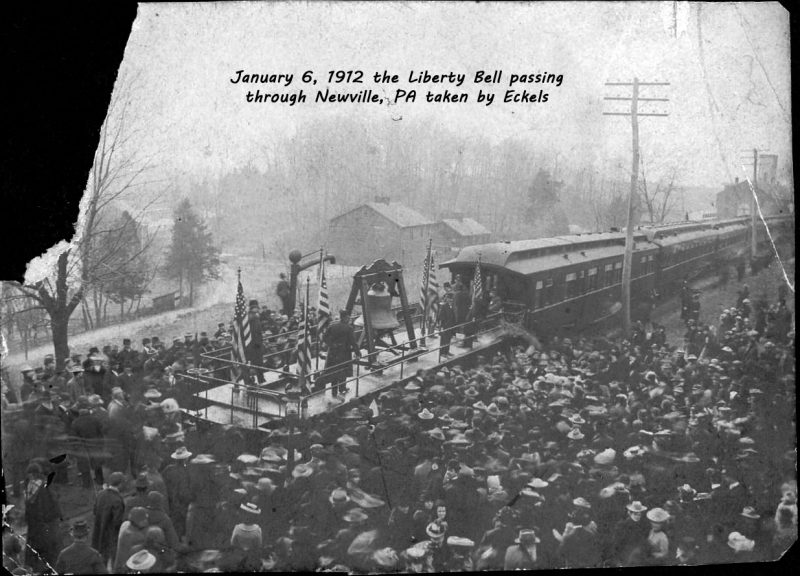 January 6, 1912 the Liberty Bell passing through Newville, PA taken by Eckels. Photo from collection of Justina Shreffler Trostle.