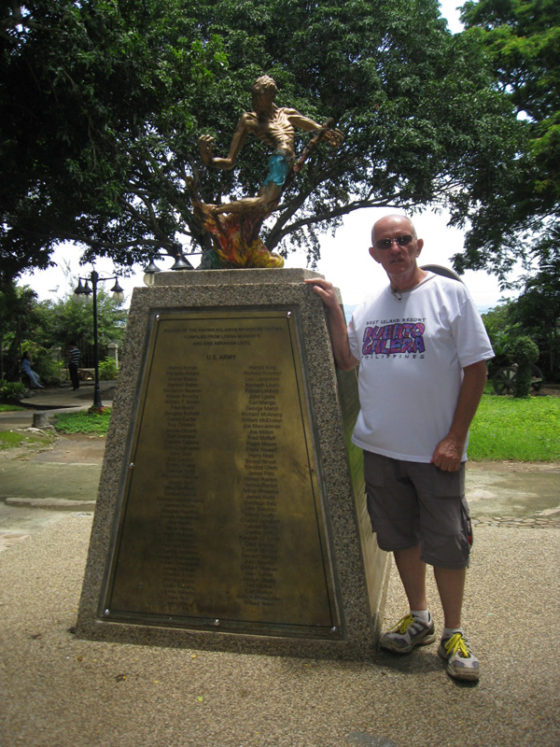Standing at the memorial listing all those U.S. Soldiers who lost their life in Palawan., Plaza Cuartel, Palawan