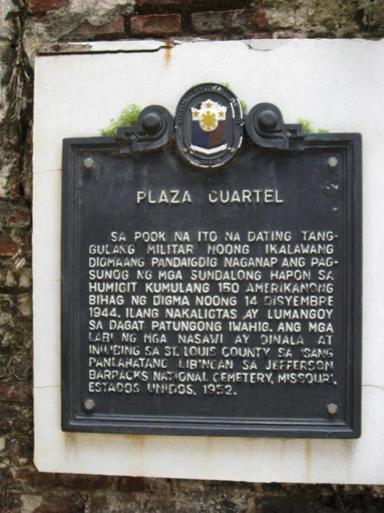 WWII Marker, Plaza Cuartel, Palawan