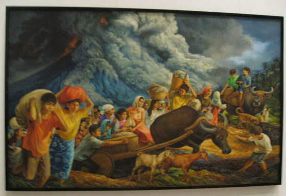 "Michael P. Blanco's ""Escape to Higher Grounds"", 48""x72"", Oil on Canvas, 2007. The painting entitled ""Escape to Higher Grounds"" is one on Michael Blanco's depictions of life in the Bicol region. It portrays the struggle of Bicolanos to escape the wrath of nature – the eruption of Mount Mayon. In this painting, it show the love, religiosity and the bayanihan spirit of the Filipino people, which makes them very resilient to any king of challenge and disaster.  Map for Climate Show Opening, Archivo 1984 Gallery.  #mapforclimate"
