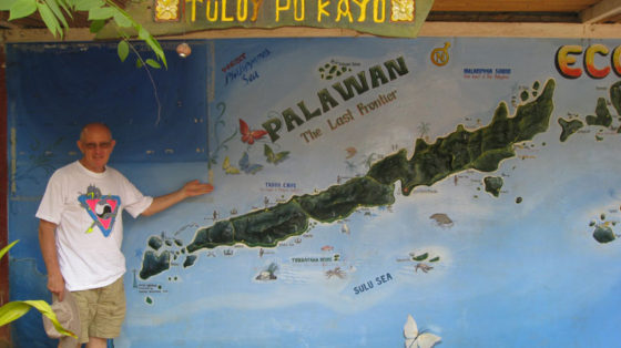 Ed pointing out Palawan on the map.