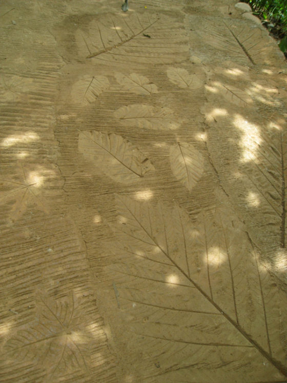 Leaf patterns in the concrete walkway to the Tribal Village.