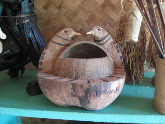 Coconut shell carving.