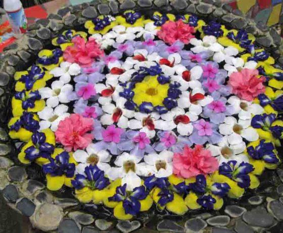 Baker's Hill floating flower arrangements.