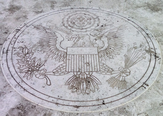 Great Seal of the United States in paving in front on Memorial Chapel, American Manila Cemetery, Manila, Philippines