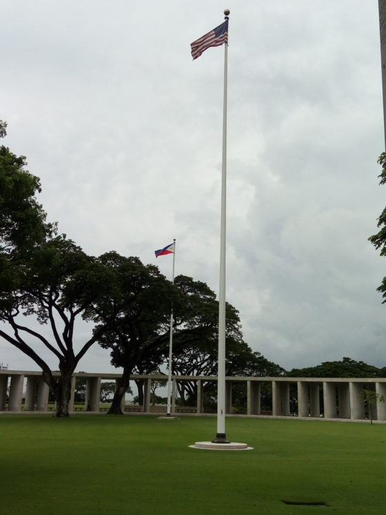 American and Philippines Flags Poles in Courtyard, American Manila Cemetery, Manila, Philippines