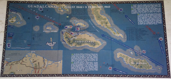 Guadalcanal 7 August 1942 - 9 February 1943, Pacific Operations Maps, American Manila Cemetery, Manila, Philippines