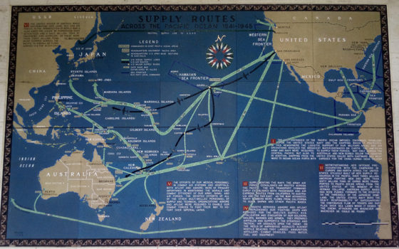 Supply Routes Across the Pacific Ocean 1941-1945, Pacific Operations Maps, American Manila Cemetery, Manila, Philippines