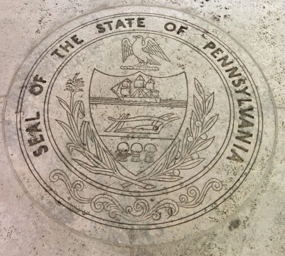 Seal of the State of Pennsylvania in walkway Walls of Honor, American Manila Cemetery, Manila, Philippines