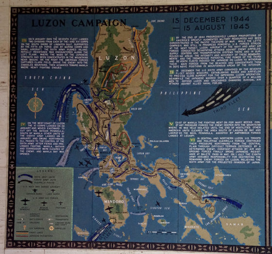 Luzon Campaign 15 December 1944 - 15 August 1945, Pacific Operations Maps, American Manila Cemetery, Manila, Philippines