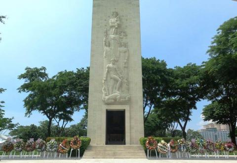 Memorial Chapel with 29 Wreaths Memorial Day 2016 Remberance, American Manila Cemetery, Manila, Philippines