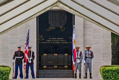 Honor Guard Memorial Day 2016 Remberance outside Memorial Chapel, American Manila Cemetery, Manila, Philippines