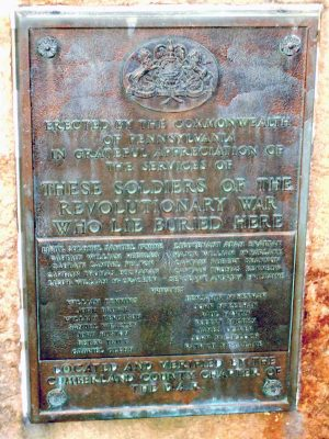 A memorial dedicated by the Commonwealth of Pennsylvania to the Revolutionary War soldiers buried in the cemetery as confirmed by the Cumberland County DAR.